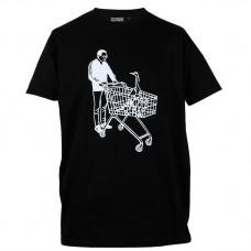 T-shirt Man met winkelwagen